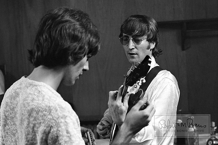 John and George, guitar and harmonica, 1965