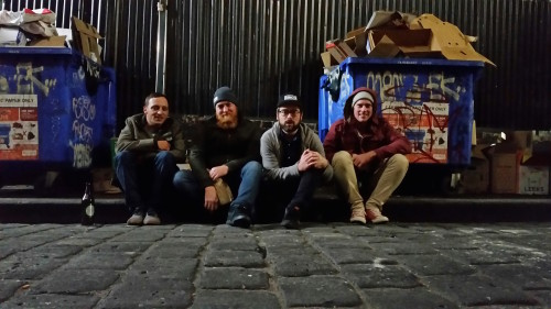 ...and here we are in our natural habitat. Kings of the alleyway! This was after an epic meal in China town. The night got a little blurry after this.