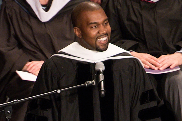 CHICAGO, IL - MAY 11:  Kanye West receives an honorary doctorate at School Of Art Institute Of Chicago on May 11, 2015 in Chicago, Illinois.  (Photo by Daniel Boczarski/WireImage)