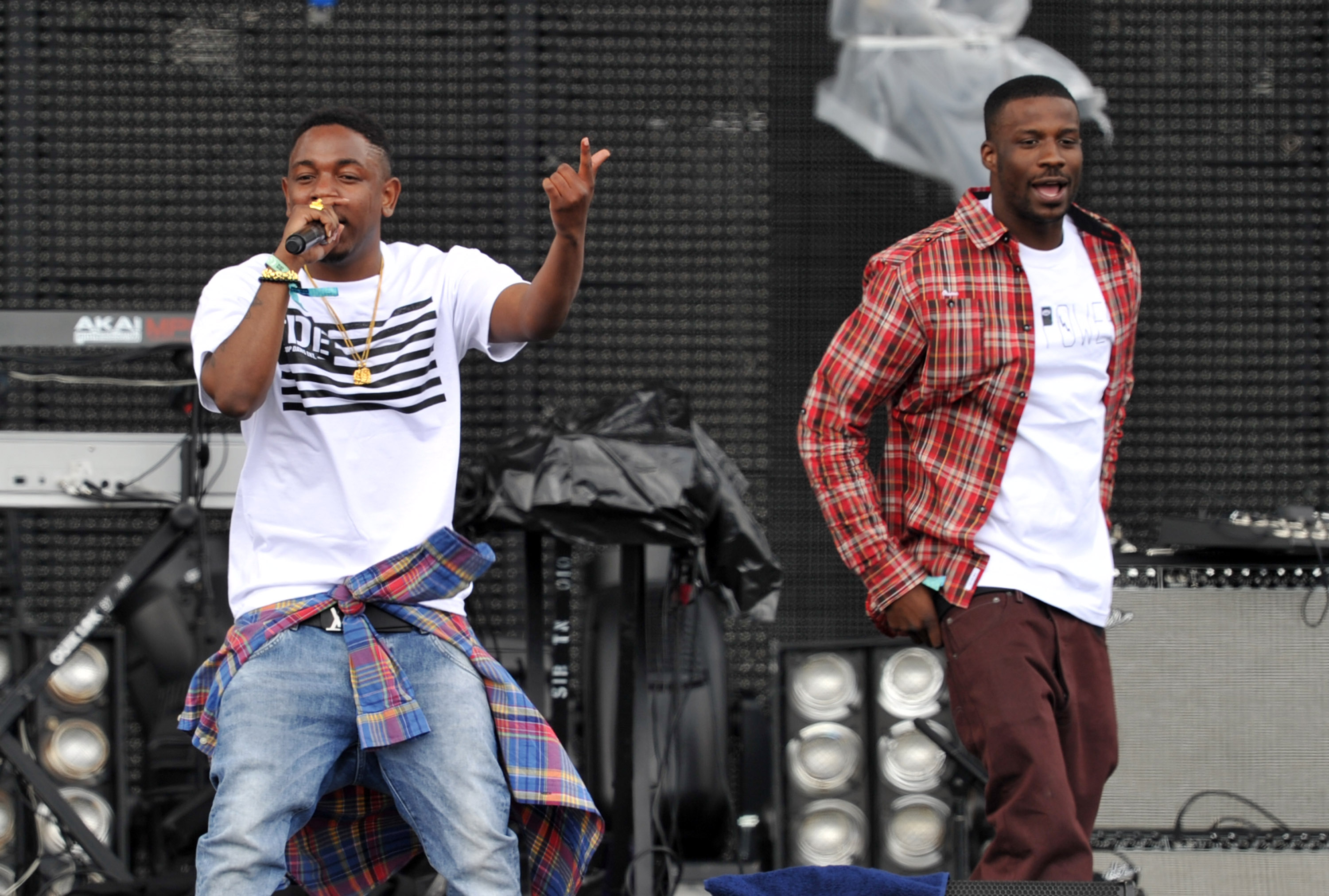 INDIO, CA - APRIL 13:  Rappers Kendrick Lamar (L) and Jay Rock perform onstage during day 1 of the 2012 Coachella Valley Music & Arts Festival at the Empire Polo Field on April 13, 2012 in Indio, California.  (Photo by Kevin Winter/Getty Images for Coachella)