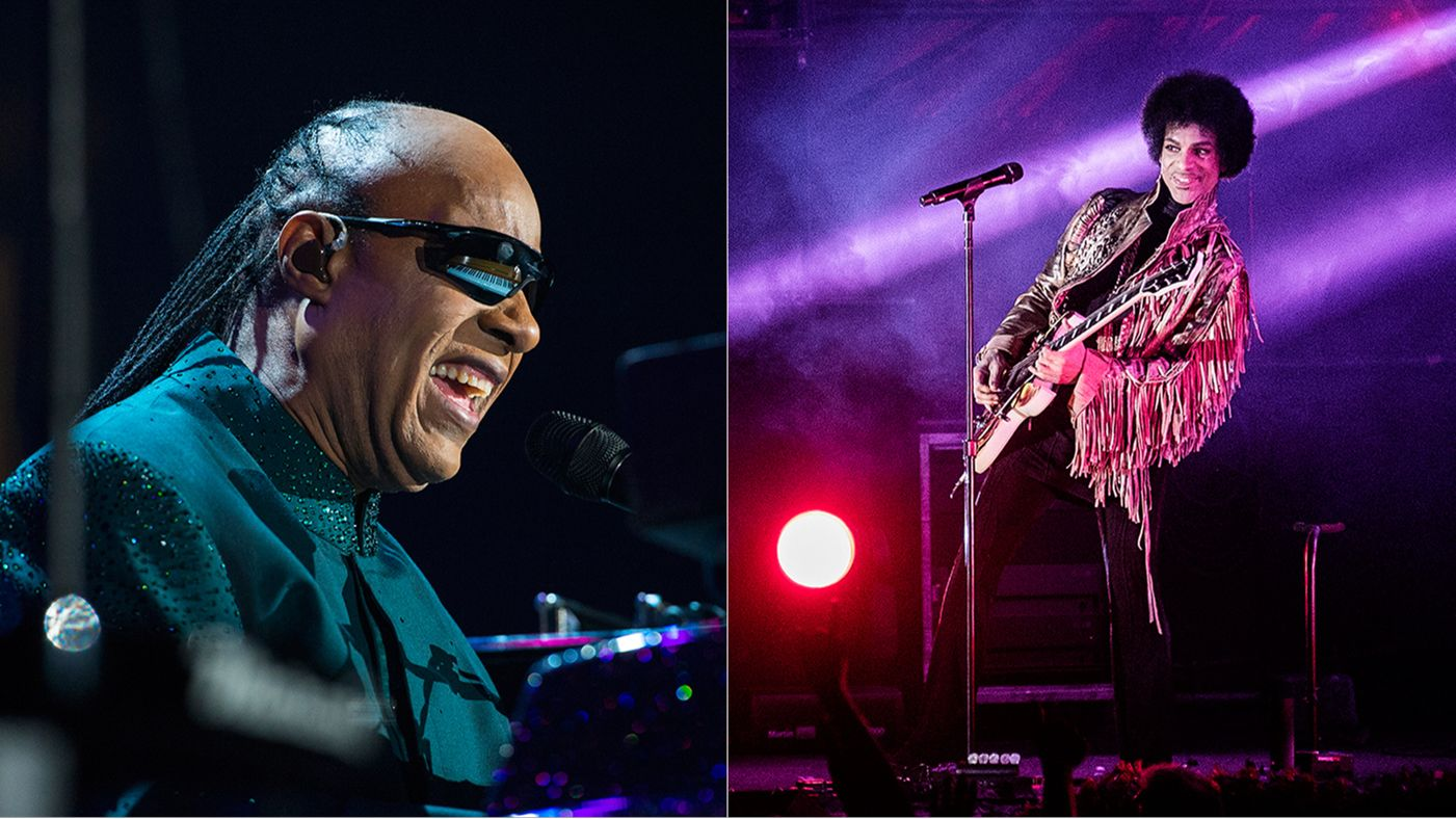 Prince and Stevie Wonder performing at the White House. Image via Rolling Stone.