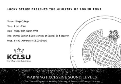 A flyer from a Lucky Strike x  Ministry of Sound event at Kings College, London. Image: Oxford University Press on behalf of the European Public Health Association