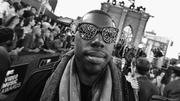 NEW YORK, NY - AUGUST 25:  (EDITORS NOTE: This image was shot in black and white) Flying Lotus attends the 2013 MTV Video Music Awards at the Barclays Center on August 25, 2013 in the Brooklyn borough of New York City.  (Photo by Larry Busacca/Getty Images for MTV)