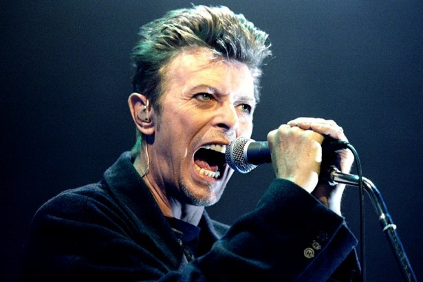 "British Pop Star David Bowie screams into the microphone as he performs on stage during his concert in Vienna February 4. Bowie is currently touring Europe with his latest work ""Outside - RTXGYOJ"