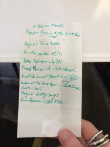 The chosen ten, scribbled on a McDonald's receipt