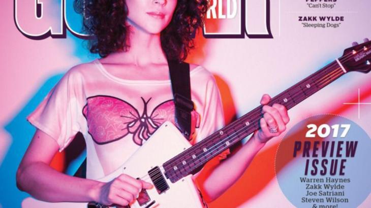 st-vincent-guitar-ernie-balll-david-bowie-thin-white-duke-guitar-world-cover